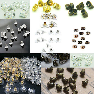 Rubber Clear Packs of Earring Backs Stops Stoppers Gold Silver Bronze Antique