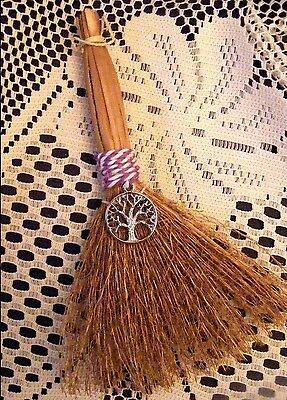 WITCHES ALTAR BESOM BROOM WITH CELTIC TREE CHARM ~ Wicca, Travelling, Protection