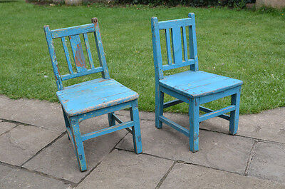 2x vintage wooden chairs childs chair small old wooden chair