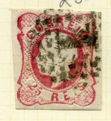 PORTUGAL;  1862 early classic Luis Imperf issue fine used 25r. value