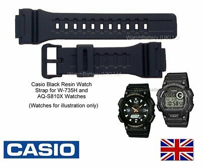 Genuine Casio Watch Strap.Replacement for Casio Black Resin W-735H & AQ-S810X