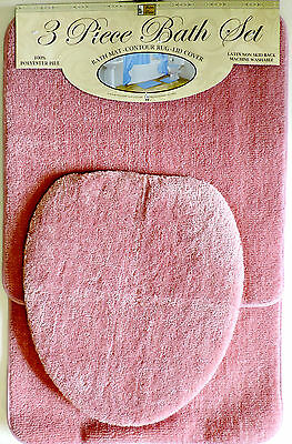 Superbe 3 Piece Bath Rug Set Pink Bathroom Mat Contour Rug Lid Cover Non Slip Bottom