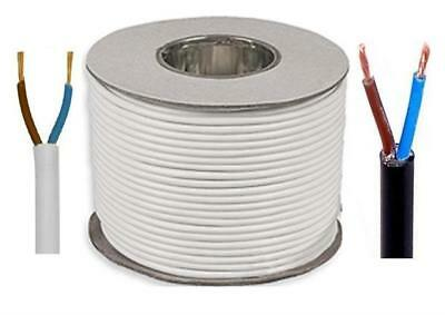 2182Y 2 Core White Black Round Flexible Cable 0.50 3A 0.75mm 6A Cut To Length