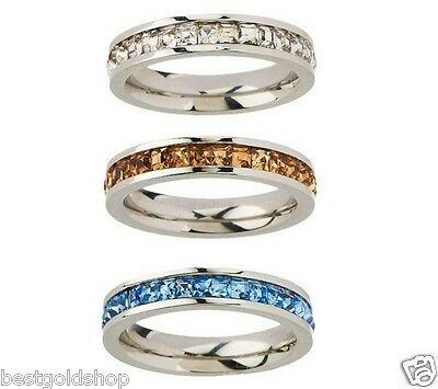Qvc Steel By Design Set Of 3 Princess Cut Stack Ring Crystal Accents