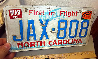 1989 North Carolina License plate, First in Flight, JAX 808, great collectible