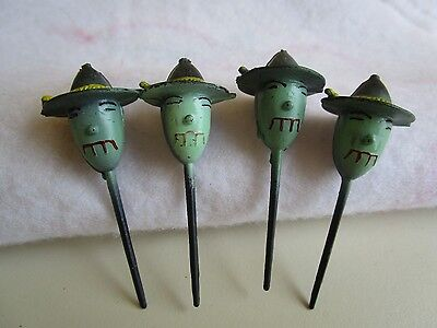 VINTAGE 4 HALLOWEEN PLASTIC GREEN FACE WITCHES CAKE PICK DECORATIONS
