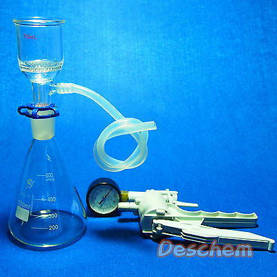 500ml,Suction Filtration Device,47mm Buchner Funnel,Glass Flask With Vacuum Pump