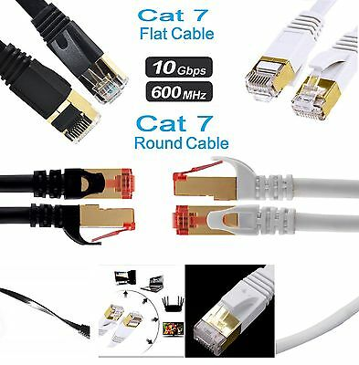 RJ45 CAT7 Network Ethernet SSTP 10Gbps Speed Gigabit Patch LAN Flat/Round Cable