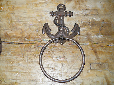 6 Cast Iron Antique Style Rustic ANCHOR Door Knocker NAUTICAL TOWEL RING