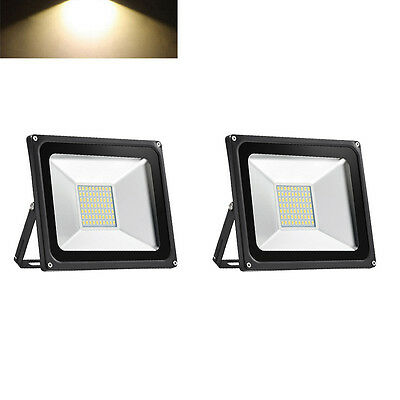 2X 50W Warm White SMD LED Flood Light Lamp Outdoor Security Garden Light IP65