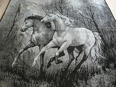 """San Marcos Blanket Horses Blue/Black 68"""" Wide x 87"""" Long With Tag"""