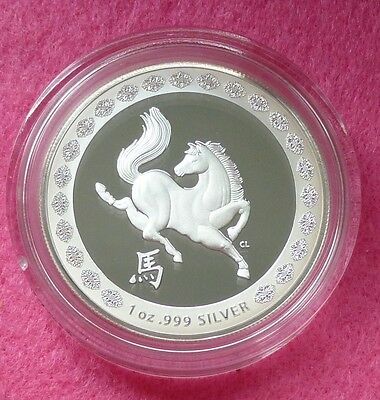2014 Australia Silver Lunar Year Of The Horse $1 Proof Coin Box Coa