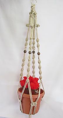 Macrame Plant Hanger 39in with BEADS Button Knot 6mm PEARL