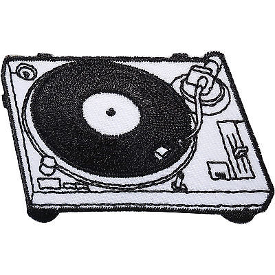DJ Deck Turntable Embroidered Iron Sew On Patch Record Player Bag Clothes Badge