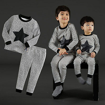 "NWT Vaenait Baby Toddler Kids Girls Boys Clothes Pajama Set ""Black Star"" 12M-7T"