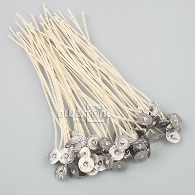 Lots Candle Making Burning Wicks 15Cm 20cm Pre Waxed Metal Holder Sustainers