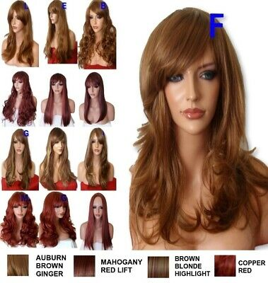 AUBURN GINGER Brown Blonde Long Curly Straight Ladies Adult Fashion hair Wigs