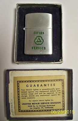 Vintage Engraved Cities Service Halco Lighter in Original box with Guarantee