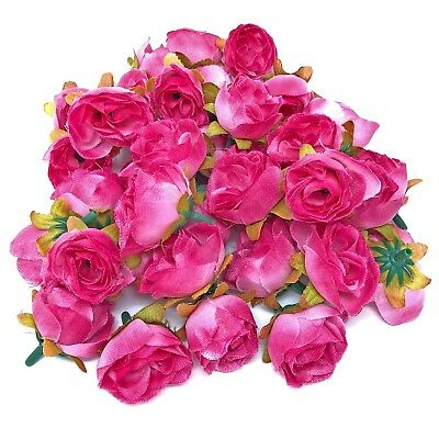 Fuchsia Pink Rose Bud Decorative Synthetic Flowers (Faux Silk) - UK SELLER