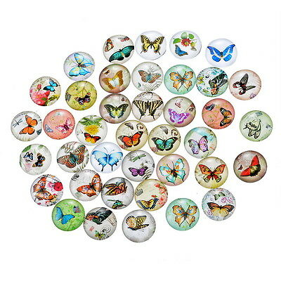 50 Mixte Cabochons Verre Papillon Motif Multicolore Ronde Pour Support 12mm
