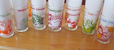 Looney Tunes lot of 7 Welch's glasses 1974