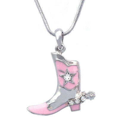 Western Cowboy Cowgirl Small Boot Star Pendant Necklace Clear Crystal Spur
