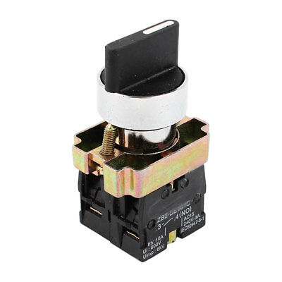 AC 240V 3A 21mm Panel Mount DPST 2NO 2 Positions Momentary Rotary Switch