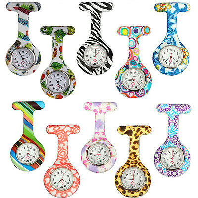 Fashion Nurses Doctors Brooch Clip-On Silicone Rubber Fob Pocket Watch Colored
