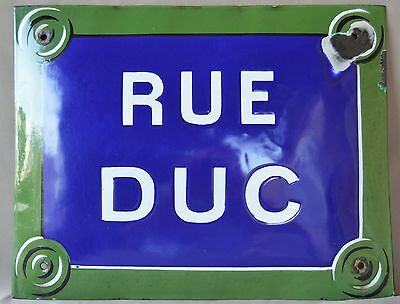 French Old Blue & Green Enamel Convex Street Road Sign Plaque, Rue Duc Duke