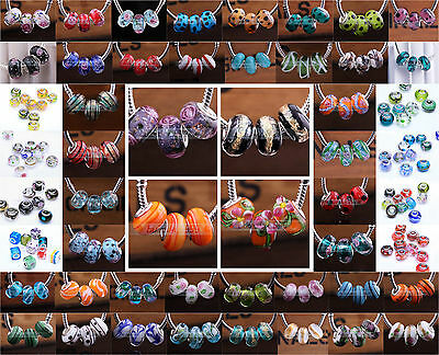 10pc 15x9mm Murano Lampwork Glass European Charms Loose Big Hole Beads 160colour