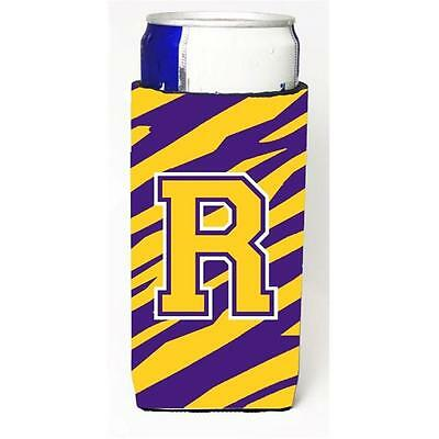 Tiger Stripe Purple Gold Monogram Letter R Michelob Ultra s For Slim Cans