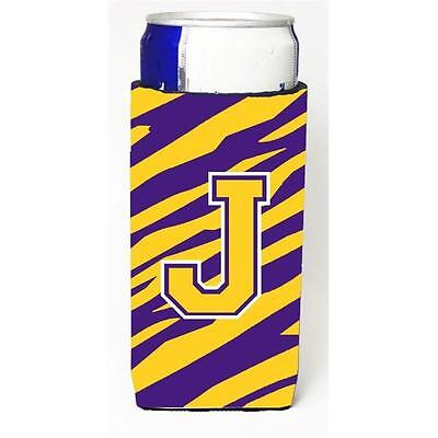 Tiger Stripe Purple Gold Monogram Letter J Michelob Ultra s For Slim Cans