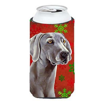 Weimaraner Red and Green Snowflakes Holiday Christmas Tall Boy Hugger