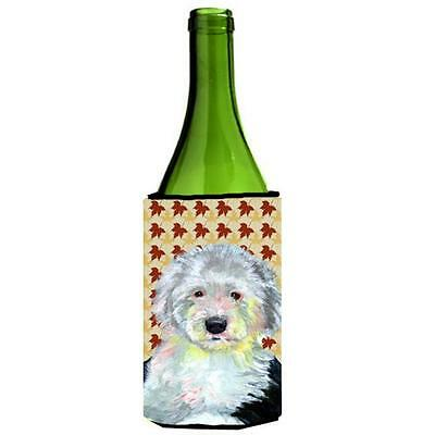 Carolines Treasures Old English Sheepdog Fall Leaves Portrait Wine Bottle Hugger