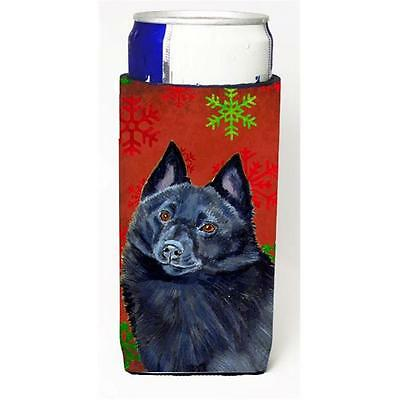 Schipperke Red and Green Snowflakes Holiday Christmas Michelob Ultra s for sl...