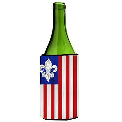 Carolines Treasures 8138LITERK Patriotic Fleur de lis Wine Bottle Hugger • AUD 48.26