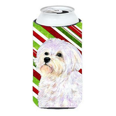 Maltese Candy Cane Holiday Christmas Tall Boy Hugger 22 To 24 oz.
