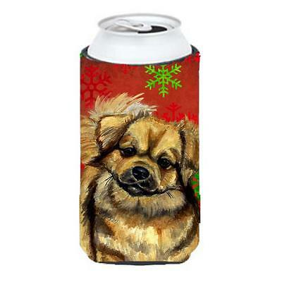 Tibetan Spaniel Red Green Snowflake Holiday Christmas Tall Boy Hugger