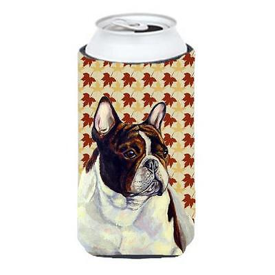 French Bulldog Fall Leaves Portrait Tall Boy Hugger 22 To 24 oz.