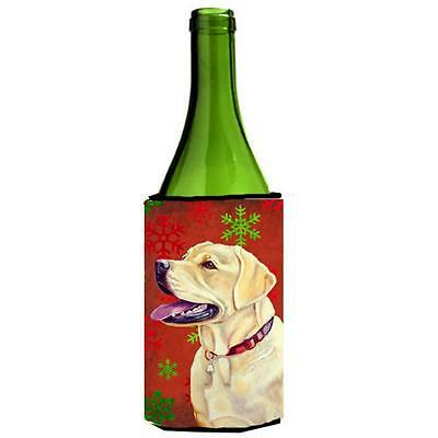 Labrador Red and Green Snowflakes Holiday Christmas Wine Bottle Hugger