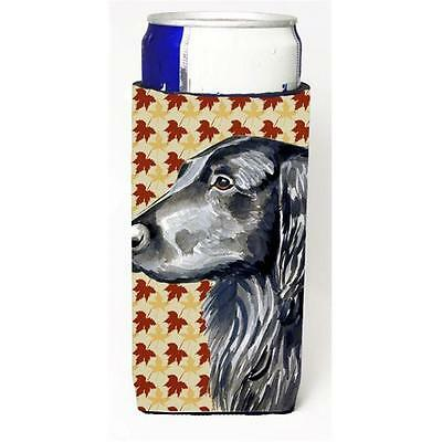 Flat Coated Retriever Fall Leaves Portrait Michelob Ultra s for slim cans