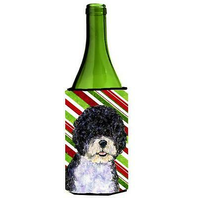 Portuguese Water Dog Candy Cane Holiday Christmas Wine Bottle Hugger 24 oz.