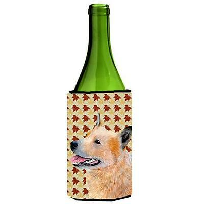 Australian Cattle Dog Fall Leaves Portrait Wine Bottle Hugger