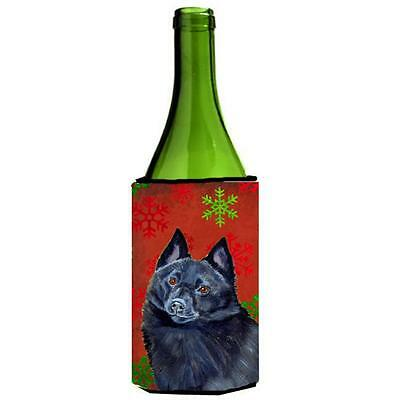 Schipperke Red and Green Snowflakes Holiday Christmas Wine Bottle Hugger