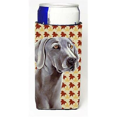 Weimaraner Fall Leaves Portrait Michelob Ultra s For Slim Cans 12 oz.