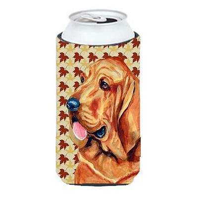 Carolines Treasures Bloodhound Fall Leaves Portrait Tall Boy Hugger 22 To 24 oz.
