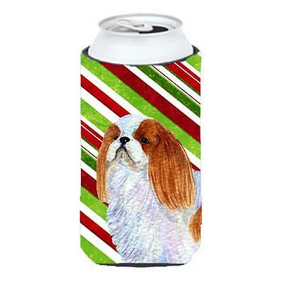 English Toy Spaniel Candy Cane Holiday Christmas Tall Boy Hugger 22 To 24 oz.