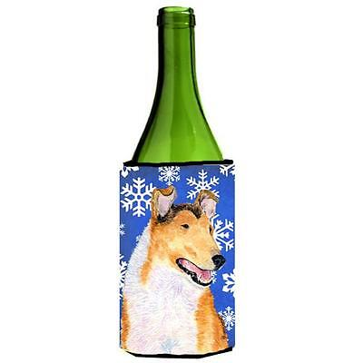 Carolines Treasures Collie Smooth Winter Snowflakes Holiday Wine Bottle Hugger