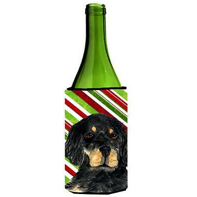 Gordon Setter Candy Cane Holiday Christmas Wine bottle sleeve Hugger 24 oz.