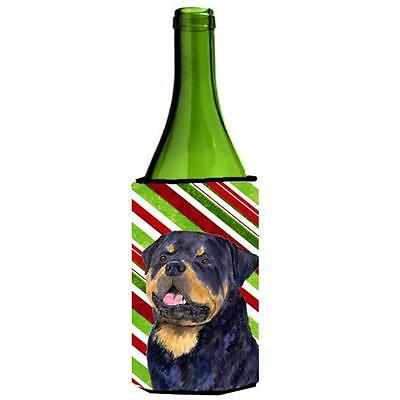 Rottweiler Candy Cane Holiday Christmas Wine bottle sleeve Hugger